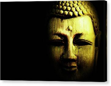 Golden Buddha On Black Canvas Print by Skip Nall