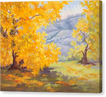 Golden California Sycamores Canvas Print by Karin Leonard