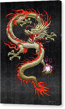 Canvas Print featuring the digital art Golden Chinese Dragon Fucanglong On Black Silk by Serge Averbukh