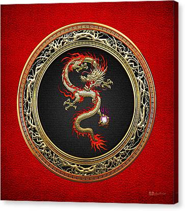 Fantasy Canvas Print - Golden Chinese Dragon Fucanglong On Red Leather  by Serge Averbukh