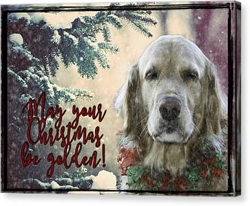 Snowy Golden Retriever Canvas Print - Golden Christmas by Nancy Forehand Photography