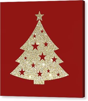 Golden Christmas Tree Canvas Print