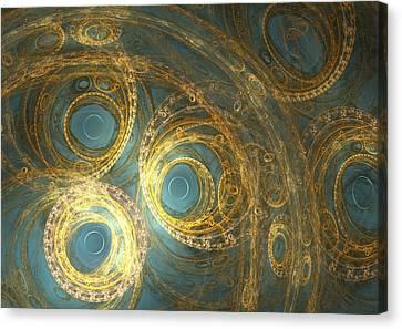 Golden Clock Machine Canvas Print by Martin Capek