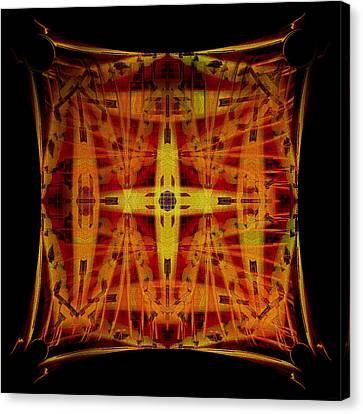 Canvas Print featuring the digital art Golden Cross by Gillian Owen