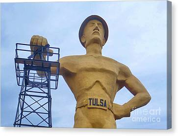 Golden Driller 76 Feet Tall Canvas Print by Janette Boyd