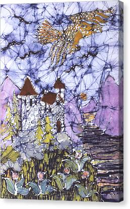 Golden Eagle Flies Above Castle Canvas Print by Carol  Law Conklin