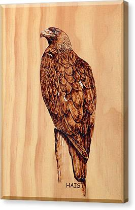 Canvas Print featuring the pyrography Golden Eagle by Ron Haist