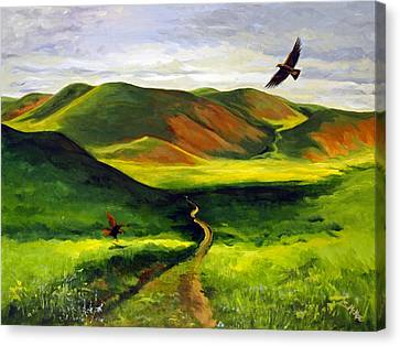 Canvas Print featuring the painting Golden Eagles On Green Grassland by Suzanne McKee