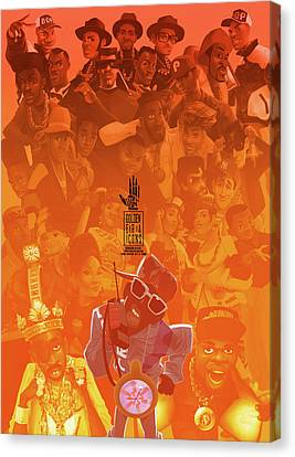 Canvas Print featuring the digital art Golden Era Icons Collage 1 by Nelson dedos Garcia