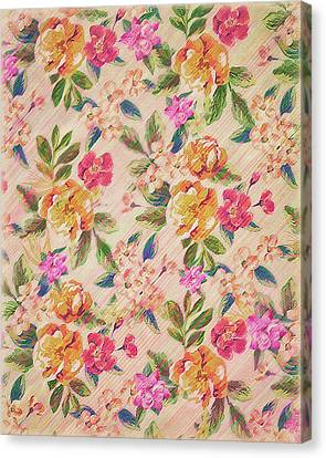 Golden Flitch Digital Vintage Retro  Glitched Pastel Flowers  Floral Design Pattern Canvas Print