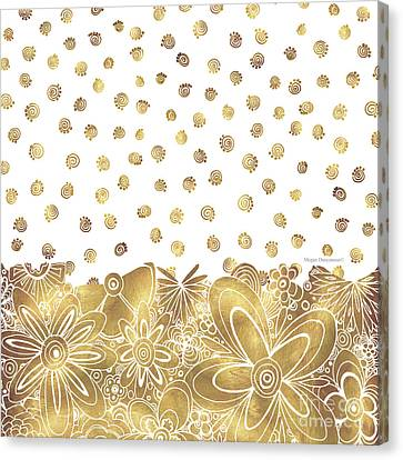 Golden Floral Curly Cue Pattern Chic And Contemporary Trendy Art By Megan Duncanson Canvas Print by Megan Duncanson