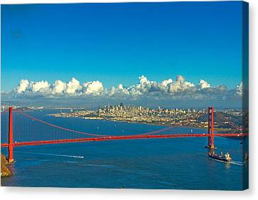 Golden Gate And The City Canvas Print by Bill Gallagher