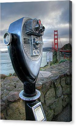 Golden Gate Binoculars Canvas Print by Peter Tellone