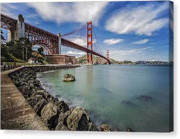 Golden Gate Bridge And Fort Point - San Francisco, Ca Canvas Print by Jennifer Rondinelli Reilly - Fine Art Photography
