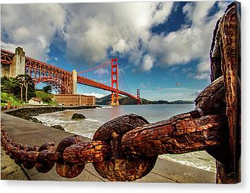 Golden Gate Bridge And Ft Point Canvas Print by Bill Gallagher