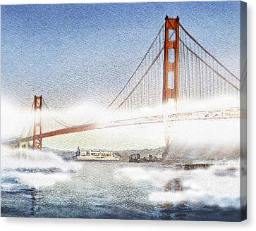 Golden Gate Bridge And San Francisco Fog  Canvas Print by Irina Sztukowski