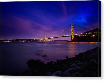 Golden Gate Bridge At Night Canvas Print