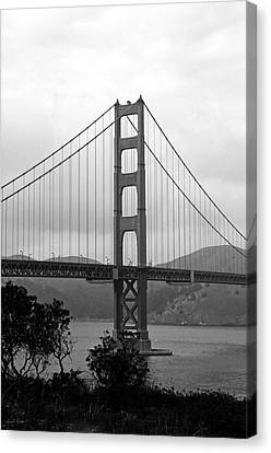 Corporate Art Canvas Print - Golden Gate Bridge- Black And White Photography By Linda Woods by Linda Woods