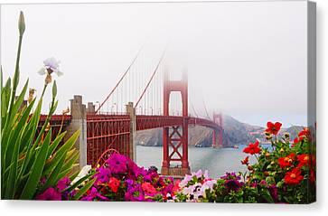 Golden Gate Bridge Flowers 2 Canvas Print