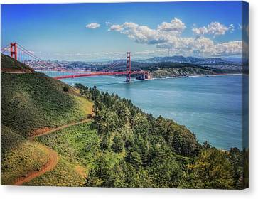 Golden Gate Bridge From The  Marin Headlands Canvas Print by Jennifer Rondinelli Reilly - Fine Art Photography