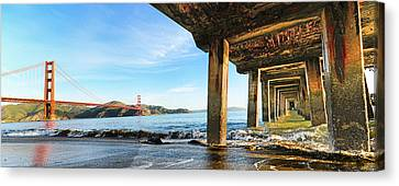 Canvas Print featuring the photograph Golden Gate Bridge From Under Fort Point Pier by Steve Siri