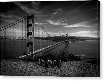 Golden Gate Bridge Locks Of Love Canvas Print by Alpha Wanderlust