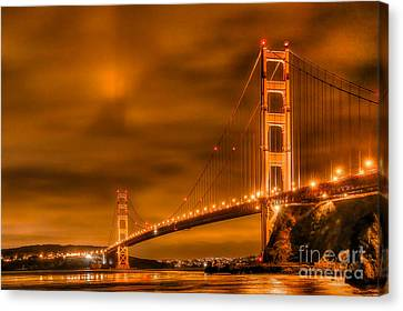 Canvas Print featuring the photograph Golden Gate Bridge - Nightside by Jim Carrell