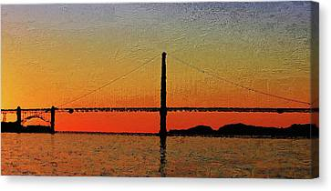 Canvas Print featuring the digital art Golden Gate Bridge Panoramic by PixBreak Art