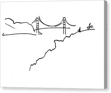 Canvas Print featuring the drawing Golden Gate Bridge by Patrick Morgan