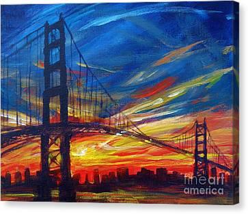 Sausalito Canvas Print - Golden Gate Bridge Sketch by Vanessa Hadady BFA MA