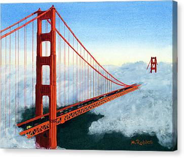 Golden Gate Bridge Sunset Painting By Mike Robles