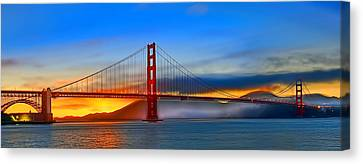 Canvas Print featuring the photograph Golden Gate Bridge Sunset by Steve Siri