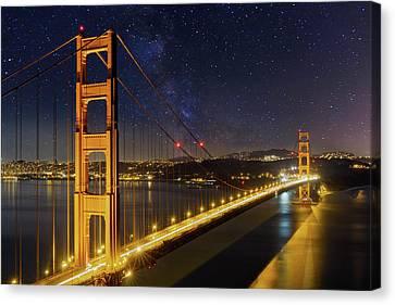 Golden Gate Bridge Under The Starry Night Sky Canvas Print by David Gn