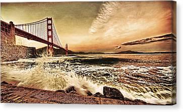 Canvas Print featuring the photograph Golden Gate Bridge Waves by Steve Siri