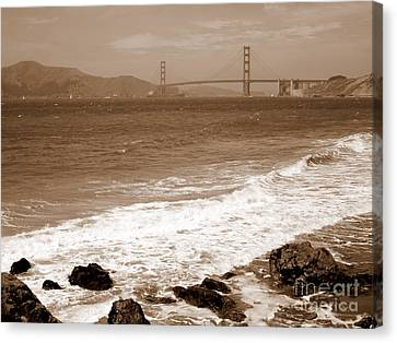 China Beach Canvas Print - Golden Gate Bridge With Shore - Sepia by Carol Groenen