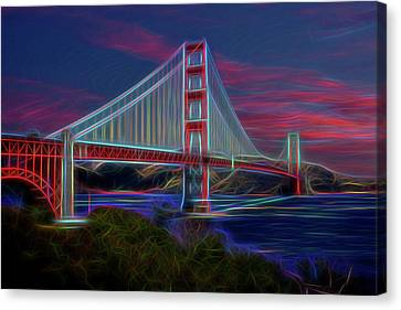 Golden Gate Neon Canvas Print