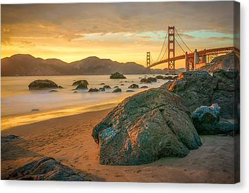 Golden Gate Sunset Canvas Print by James Udall