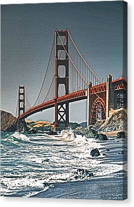 Golden Gate Surf Canvas Print by Dennis Cox WorldViews
