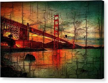Peeling Canvas Print - Golden Gate Weathered by Az Jackson