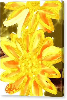Indian Ink Canvas Print - Golden Gerbers by Carl Griffasi