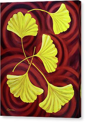 Golden Ginkgo Leaves On Burgundy Canvas Print by Laura Iverson