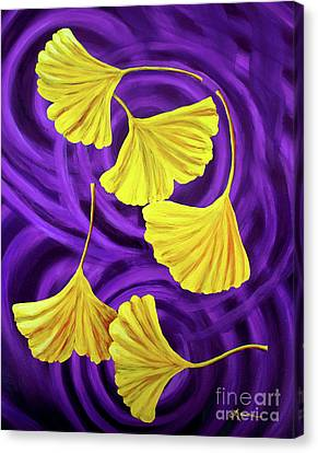 Golden Ginkgo Leaves On Purple Canvas Print by Laura Iverson
