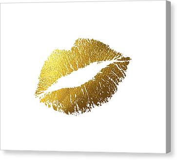 Gold Lips Canvas Print by BONB Creative