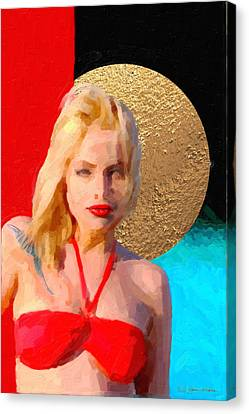 Canvas Print featuring the digital art Golden Girl No. 2 by Serge Averbukh
