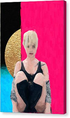Canvas Print featuring the digital art Golden Girl No. 3 by Serge Averbukh