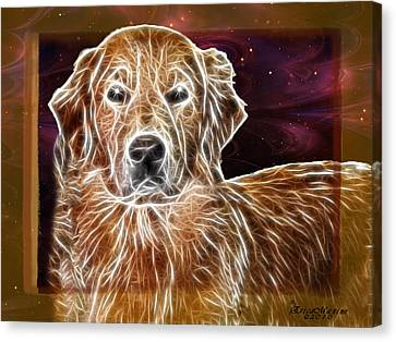 Golden Glowing Retriever Canvas Print by EricaMaxine  Price