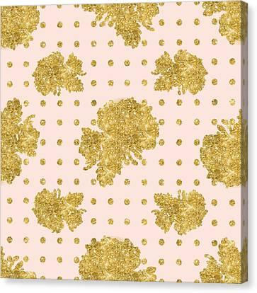 Golden Gold Blush Pink Floral Rose Cluster W Dot Bedding Home Decor Canvas Print by Audrey Jeanne Roberts