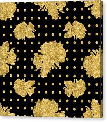 Golden Gold Floral Rose Cluster W Dot Bedding Home Decor Art Canvas Print by Audrey Jeanne Roberts