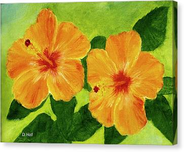 Golden Hawaii Hibiscus Flower #25 Canvas Print by Donald k Hall