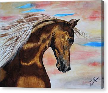 Canvas Print featuring the painting Golden Horse by Melita Safran